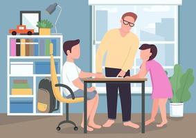 Vater helfen Kindern mit Hausaufgaben flache Farbvektorillustration