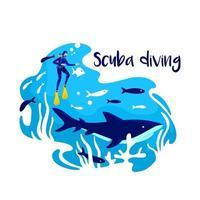 snorkling i havet 2d vektor