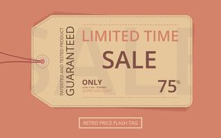 Pris Flash Retro Sale Tag vektor