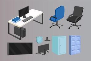 kontorsmöbler platt färg vektor objekt set