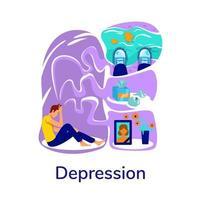 mental hälsa problem platt koncept vektorillustration