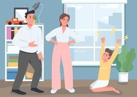 familj konflikt platt färg vektorillustration