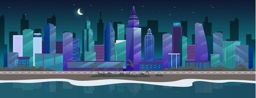 natt stad platt färg vektorillustration vektor
