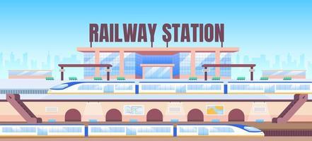 järnvägsstations banner platt vektor mall