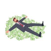 Geschäftsmann, der auf Geld flache Konzeptvektorillustration liegt
