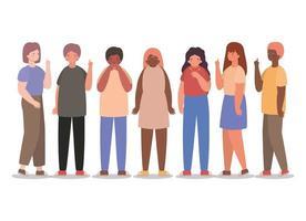 flickor och pojkar avatarer med torr hosta och trötthet vektor design