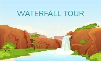 Wasserfall Tour Banner flache Vektor-Vorlage vektor