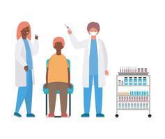 manliga och kvinnliga läkare som vaccinerar manvektordesign