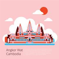 Angkor Wat Kambodja Flat Vector