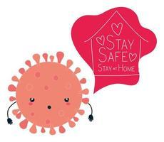 covid 19 virus kawaii tecknad och håll dig säker och hemma vektordesign