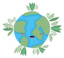 kawaii Weltkugelkarikatur mit Blattvektordesign