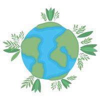 isolierte Weltkugel mit Blattvektordesign
