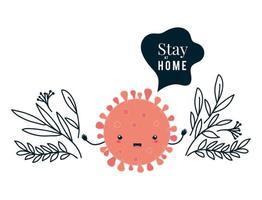 covid 19 virus kawaii tecknad och stanna hemma med bladvektordesign