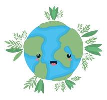 kawaii världssfär tecknad med bladvektordesign