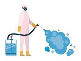Mann mit Schutzanzug, der Pulverisierer-Sprühflasche mit Rauchvektorentwurf hält vektor