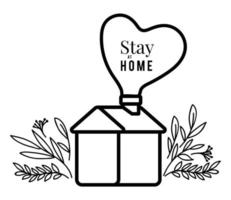 bo hemma text och hus med hjärta och blad vektor design