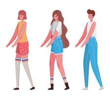 kvinnors avatars tecknat med avslappnad tygvektordesign