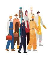 män och kvinnor arbetare med masker vektordesign