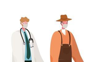 isolerad manlig läkare och trädgårdsmästare med masker vektordesign
