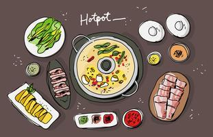 Gezeichnete Vektor Illustration der Hotpot-Zutaten-Draufsicht-Hand