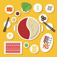 Hotpot och ingredienser illustration