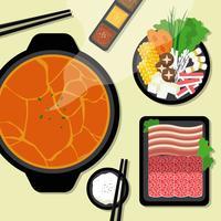 Hotpot und Zutaten Illustration