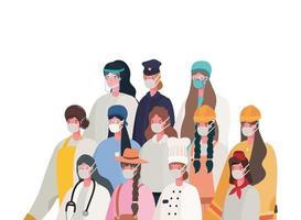 kvinnliga arbetare med masker vektordesign