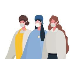 isolerad kvinnlig läkarkock och affärskvinna med masker vektordesign