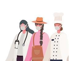 kvinnlig läkare trädgårdsmästare och kock med masker vektordesign