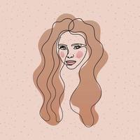 linje kvinnans ansikte med långt hår i vit bakgrund vektor