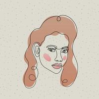 linje kvinnans ansikte med hår och mun vektor