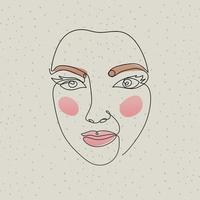 linje kvinnans ansikte på en grå bakgrund vektor