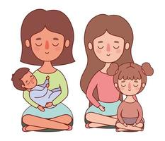 Mütter mit Baby und Tochter Vektor-Design