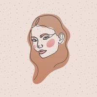 linje kvinnans ansikte med hår på rosa bakgrund vektor