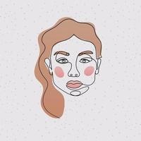 linje kvinnans ansikte med hår på lila bakgrund vektor