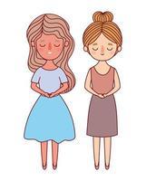 två kvinnor avatarer tecknade vektor design
