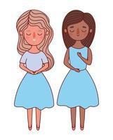 zwei Frauen Avatare Cartoons Vektor-Design vektor