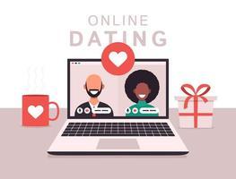 Online-Dating-App-Konzept mit Mann und Frau. flache Vektorillustration mit afrikanischer Frau und weißem kahlem Mann auf Laptop-Bildschirm.