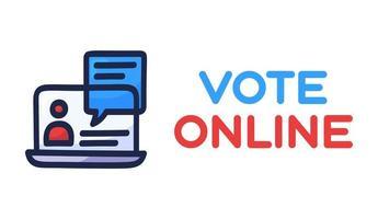 Online-Konzept abstimmen. elektronische Abstimmung in den Vereinigten Staaten. Chat-Blase auf Laptop-Bildschirm und Text. Präsidentschaftswahl 2020 und Coronavirus-Quarantäne-Vektorillustration. vektor