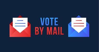 Abstimmung per Mail Vektor-Illustration. Bleiben Sie sicher Konzept für die Präsidentschaftswahlen 2020 in den Vereinigten Staaten. Vorlage für Hintergrund, Banner, Karte, Poster mit Textbeschriftung.