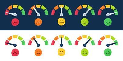 Tachometer, Drehzahlmesser-Symbolsammlung. Farb-Tacho eingestellt. Skala von roter zu grüner Leistungsmessung. Bewertung Zufriedenheitskonzept mit Emotionen Vektor-Illustration vektor