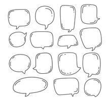 samling pratbubbla eller chattelement i tecknad skiss handritad bubbla tal vektorillustration