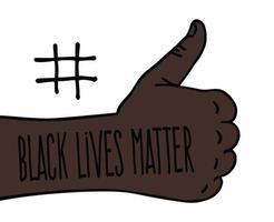 Daumen hoch schwarze Lebensmaterie. Protestbanner über die Menschenrechte der Schwarzen in Amerika. Vektorillustration.