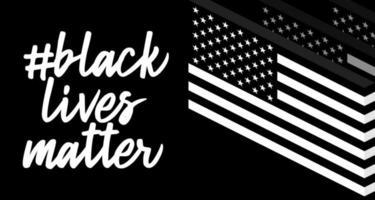 Farben der Nationalflagge der Vereinigten Staaten und Beschriftungstext schwarz leben Materie. Symbol des Protests. SMS für Protestaktion. Vektorillustration
