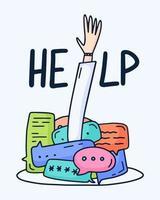 Vektor-Illustration von bunten Dialog-Sprechblasen und einer Hand, die nach oben greift und um Hilfe auf weißem Hintergrund bittet. dünne Linie Kunst flaches Design der mobilen Technologie