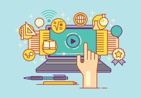 Sats av Flat Design Vector Illustration Concepts för e-learning och utbildning