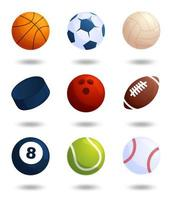 realistische Sportbälle Vektor große Menge lokalisiert auf weißem Hintergrund. Vektor-Illustration von Fußball und Baseball, Fußballspiel, Tennis, Bowling, Eishockey, Volleyball