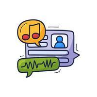 Sprach Chat Blase Musiknote Hand gezeichnete Cartoon Vektor-Illustration.
