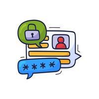 låt oss prata om säkerhet. doodle vektorillustration med chattikoner, hänglås. prata om dataskydd och cybersäkerhet vektor