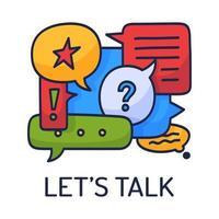 vektorillustration dialog pratbubblor med ikoner och text låt oss prata på vit bakgrund. koncept för säkerhetskommunikationsteknik. tunn linje konst platt design av mobil teknik vektor